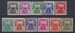 Yv  TX 67 à 77 , Types Gerbes ** - 1859-1955 Neufs
