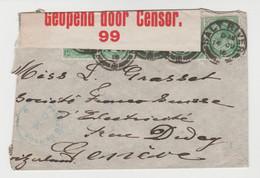 UNION SUD AFRICAINE , Bel Affranchissement De Salt River De 1916, Passée Par La Censure Anglaise Pour Genève - Briefe U. Dokumente