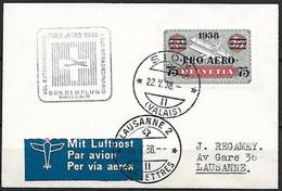 Schweiz Suisse 1938: PRO AERO Zu Flug 26 Mi 325 Yv PA26 Swissair-Flug SION 22.V.38 Nach LAUSANNE (Zu CHF 15.00) - Erst- U. Sonderflugbriefe