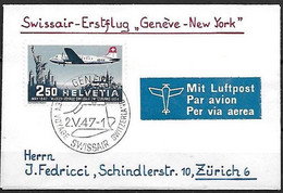 """Schweiz Suisse 1947: PRO AERO """"Genève-New York"""" Zu 42 Mi 479 Yv PA41 Mit Stempel GENÈVE 2.V.47 SWISSAIR (Zu CHF 40.00) - Erst- U. Sonderflugbriefe"""