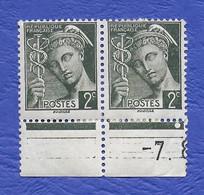 FRANCE 1938 MERCURE 2 TIMBRES ATTACHÉS  NEUFS BORD DE PAGE - 1938-42 Mercure