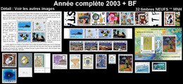 WALLIS ET FUTUNA Année Complète 2003 + BF 12 Et 13 - Yv. 588 à 613 + … ** MNH   - 32 Timbres  ..Réf.W&F22637 - Full Years
