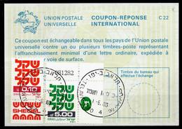 ISRAEL InternationalReply Coupon La23 + Post Stamps5.10 Schekel Reponse Antwortschein IRC IAS o TEL AVIV 01.06.83 - Briefe U. Dokumente