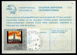 ISRAEL InternationalReply Coupon La23 + Post Stamps3.00 Schekel Reponse Antwortschein IRC IAS o TEL AVIV 01.07.83 - Briefe U. Dokumente