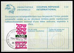 ISRAEL InternationalReply Coupon La23 + Post Stamps 1.00 Schekel Reponse Antwortschein IRC IAS o TEL AVIV 20.09.84 - Briefe U. Dokumente