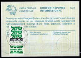 ISRAEL InternationalReply Coupon La23 + Post Stamps 5.00 Schekel Reponse Antwortschein IRC IAS o TEL AVIV 18.03.85 - Briefe U. Dokumente