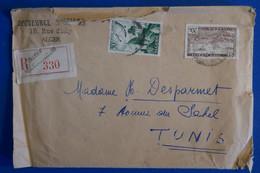 L12  ALGERIE LETTRE RECOM.1949 ALGER  POUR TUNIS+ TEXTE D UN PHILATELISTE A LIRE +AFFRANCH INTERESSANT - Briefe U. Dokumente