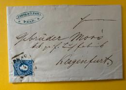 13373 - Lettre De Prague Pour Klagenfurt 10.04.1860 No 16 15K Bleu Type II - Cartas