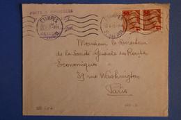 L12 FRANCE BELLE LETTRE  1941 ETAMPES  POUR PARIS  + PAIRE DE T.P SURCHARGES+AFFRANCH INTERESSANT - Lettres & Documents