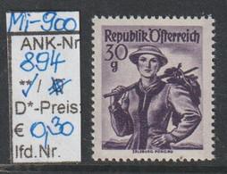 """1950 - ÖSTERREICH - FM/DM """"Österr. Volkstrachten""""  30g Dkl'violett - ** Postfrisch - S. Scan  (894   At) - 1945-60 Unused Stamps"""