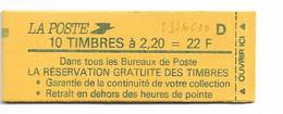 CARNET Nº2376-C10   LETTRE D CONF:8  FERMÉ  TTB    CARNET DE 10 TIMBRES À  2.20FR  LIBERTE DE DELACROIX - Usage Courant