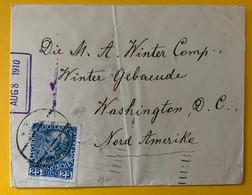 13376 - Lettre De Wien Août 1910  25h Bleu Pour Washington - Cartas
