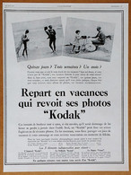 1928 Repart En Vacances Qui Reçoit Ses Photos Kodak (Appareil Photo) - Publicité - Publicidad
