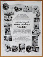 1929 Vacances Passent, Restent Vos Photos Kodak (Appareil Photo) - Les Cols Et Chemises Noveltex - Publicité - Publicidad