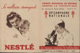 Comité National De Défense Contre La Tuberculose 23e Campagne Nationale Carnet 10 Timbres Vignette La Science Vaincra - Antituberculeux
