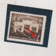 CROATIA WW II 1942 POMOC  Plate Error On 4+2 Kn Value MNH - Croacia