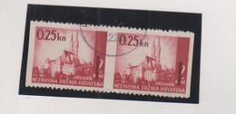 CROATIA WW II Landscape 0.25 /2 Kn Pair  Used Vertical Imperforated - Croacia