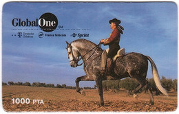 SPAIN B-614 Prepaid GlobalOne - Animal, Horse - Used - Otros