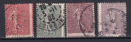 FRANCE - SEMEUSE - VARIETE FORT DECENTRAGE ! YVERT N°129/131+133 OBLITERES - 1903-60 Sower - Ligned