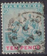 BARBADE ; BARBADOS 1882 , Vittoria 10 Pence Yvert N. 57 Oblitéré - Barbados (...-1966)