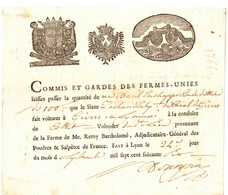 COMMIS ET GARDES DES FERMES UNIES . LAISSEZ PASSEZ . VOITURIER A GIVORS . 1766 . SUPERBES VIGNETTES - Documentos Históricos