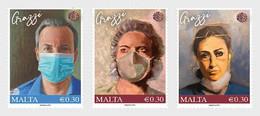 MALTA 2021 Healthcare Heroes Testing Set 3v MNH Mint, Covid-19, Coronavirus , Mask, Doctor, Nurse, Medicine, Family (**) - Malta