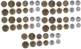 Costa-Rica - 5 Pcs X Set 6 Coins 5 10 25 50 100 500 Colones 2014 - 2016 UNC Lemberg-Zp - Costa Rica