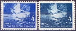 "CROATIA -   HRVATSKA - NDH - ERROR  DRINA  "" BLUE + GREEN + RIDGE""  - *MLH  - 1941 - Croacia"