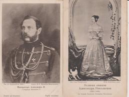 Deux CPA  L'Empereur AlexandreII La Grande Duchesse Alexandra Nicolaevna - Koninklijke Families