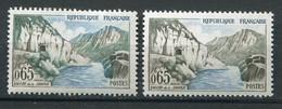 21010 FRANCE N°1239d**(Maury) 65c. Vallée De La Sioule : Montagne Bleue Et Verte + Normal (non Fourni) 1960  B/TB - Variétés: 1960-69 Neufs