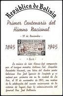 Bolivia 1945 ** CEFIBOL 461V HB Himno Nacional. SS. National Anthem. Yellow Rubber. Some Fold. - Bolivien