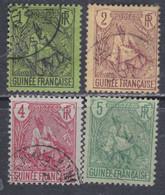Guinée Française N° 18 / 21 O , Type Berger Pulas, Les 4 Valeurs  Oblitérations Légères Sinon TB - Unused Stamps