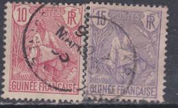Guinée Française N° 22 / 23 O , Type Berger Pulas, Les 2 Valeurs  Oblitérations Moyennes Sinon TB - Unused Stamps