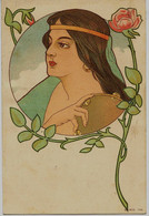 8582 - Illustrateur - Non Signée  -  Superbe Jeune Femme Au Tambourin   -  Art Déco - Genre Mucha, Dos Non Divisé   RARE - Altre Illustrazioni