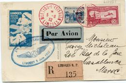 """FRANCE CARTE POSTALE """"LIMOGES MEETING D'AVIATION..."""" RECOMMANDEE PAR AVION AVEC VIGNETTE DU MEETING DEPART LIMOGES...... - Air Post"""