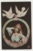 Carte Fantaisie - Femme - Coiffe Russe Et Colombes - Women