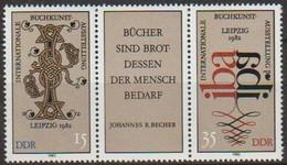 DDR 1982 MiNr.2697-2698 Dreierstreifen  ** Postfrisch Intern. Buchausstellung IBA Leipzig( A968 ) Günstige Versandkosten - Ongebruikt