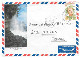 LETTRE DE PAPEETE TAHITI   1978.. PAR AVION. POUR DURAS EN FRANCE. - Tahiti