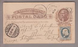 USA 1888-05-28 Postkarte 1 Cent + 1 Cent Zusatz Nach Stein A.R. - Cartas
