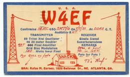 Carte Q.S.L.amateur Radio W4EF Rufus M. Barnes1026 Bellevue.Atlanta.Géorgie.U.S.A. Année 1935. - Radio Amateur