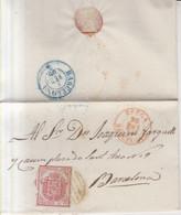 Año 1854 Edifil 33 Escudo Carta  Matasellos Rejilla Y Rojo Berga Barcelona Tipo I ERROR Fecha Invertida - Briefe U. Dokumente