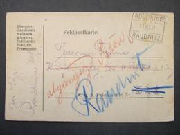 KARTE Raudnitz Roudnice Feldpost 1917 Bahnhofstempel  ///// F3335 - Cartas