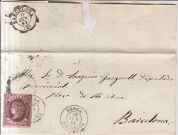 Año 1862 Edifil 58 Isabel II Envuelta  Matasellos Rejilla  Berga Barcelona Tipo II - Briefe U. Dokumente