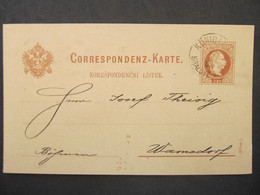 GANZSACHE Königinhof Dvur Kralove - Warnsdorf 1880 ///// F3355 - Cartas