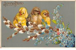 Pâques - N°69006 - Joyeuses Pâques - Poussins Parmi Des Fleurs - Carte Légèrement Gaufrée - Easter