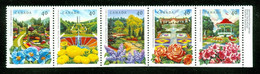 Jardins / Gardens; Se Tenant; Timbres Scott # 1311-5 Stamps; Trace De Charnière / Hinge (4615) - Nuevos