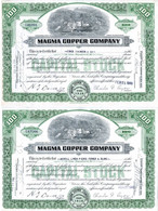 """2 Certificates Of Capital Stock """"Magma Copper Company"""" ,1948 - Mineral"""