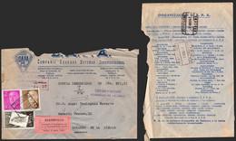 España - Edi O 1147,1158,1202 - Carta Certificada Reembolso De Sevilla A Linares De La Sierra - Publicidad Al Dorso - 1951-60 Lettres