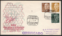 "España - Edi O 1147,1144,1145 - Mat Gomis 344b ""Certificado - Feria Oficial E Internacional De Muestras Barcelona 1/6/55 - 1951-60 Lettres"