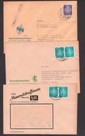 """Briefgesichter Mineralöfraffinerie Freital, Bauernbuchversand Leipzig, Elektrogerätebau Aptierter St. """"Reichsmesse"""" - Cartas"""